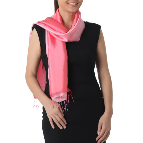 2-tone Pink Salmon Scarf in Shimmering Rayon and Silk Blend 'Shimmering Tulip'