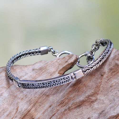 Artisan Designed Sterling Silver Pendant Bracelet from Bali 'Ayung Wave'