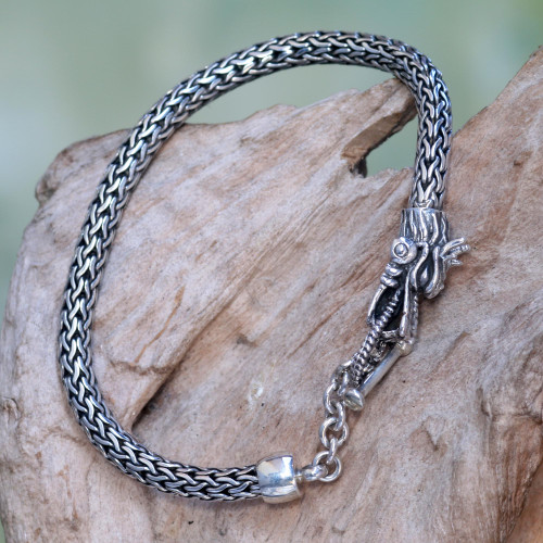 Sterling Silver Wheat Chain Bracelet with Dragon Head Clasp 'Dragon Tale'