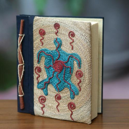 Handmade Natural Fiber Blank 50-pg Journal with Turtle Motif 'Blue Turtle'