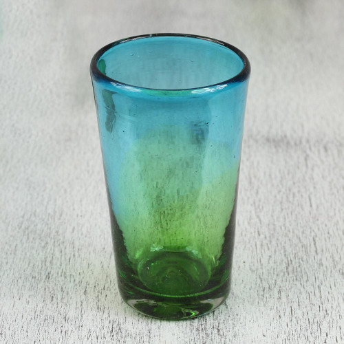 6 Artisan Crafted Blue Green Blown Glass Highball Glasses 'Aurora Tapatia'