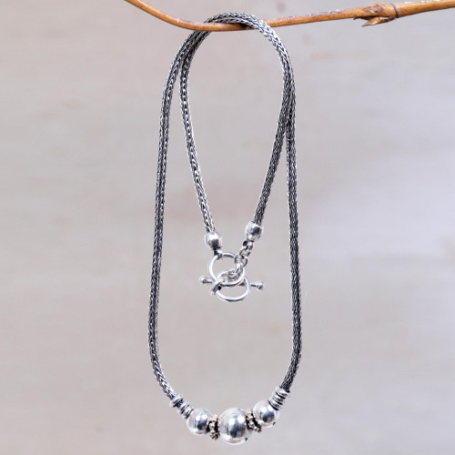 Sterling Silver Artisan Designed Pendant Necklace from Bali 'Naga Trio'