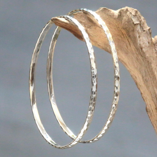 Women's Bangle Bracelets from Bali in Sterling Silver Pair 'Sterling Circles'