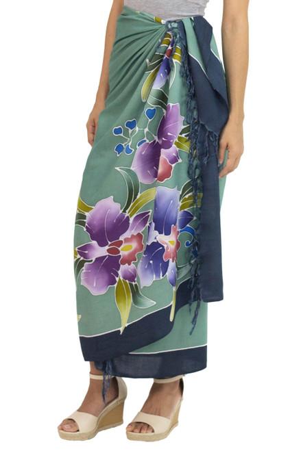 Artisan Crafted Rayon Floral Green and Dark Teal Sarong 'Thai Summer'