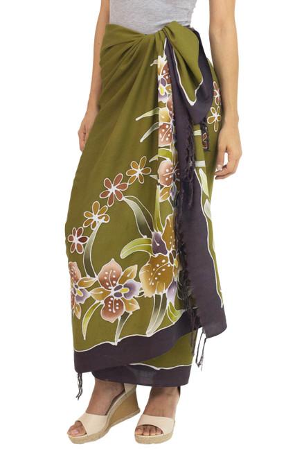 Handmade Olive Green Rayon Sarong with Floral Motif 'Autumn Cattleya'