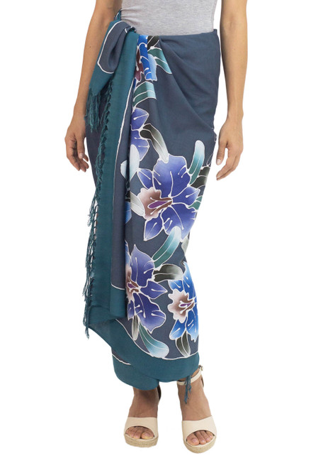 Artisan Crafted Rayon Sarong from Thailand with Floral Motif 'Spring Cattleya'