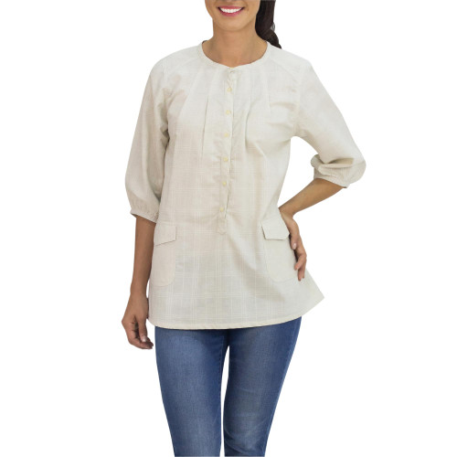 Cream Color Cotton Tunic with 2 Pockets from Thailand 'Nature Walk in Cream'
