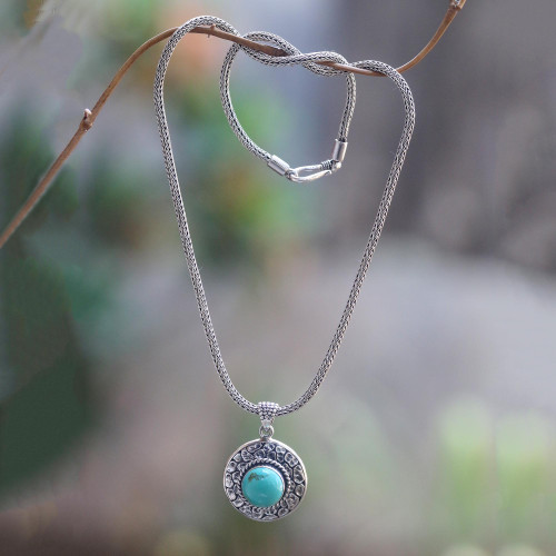 Handmade Turquoise and Sterling Silver Pendant Necklace 'Blue Medallion'
