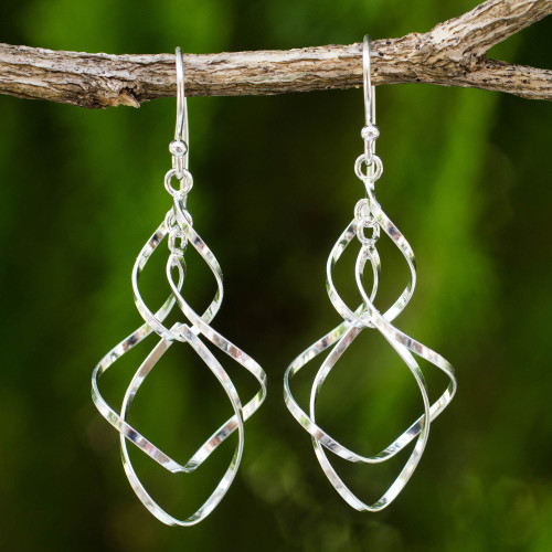 Hand Crafted Sterling Silver 925 Dangle Style Earrings 'Whirling Wind'