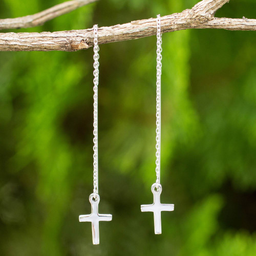 Hand Crafted Sterling Silver Cross Threader Earrings 'Chain of Purity'