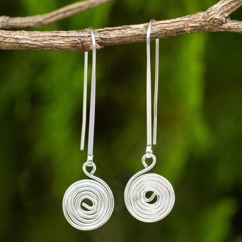 Artisan Crafted Sterling Silver Hook Earrings with Spiral 'Simply Spiral'