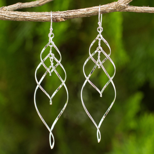 Helix Design Dangle Earrings in 925 Sterling Silver 'Forever Linked'