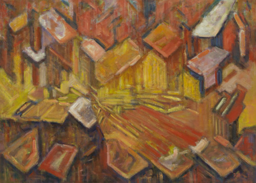Abstract Brazilian Cityscape Painting in Warm Colors 'Metropolis'