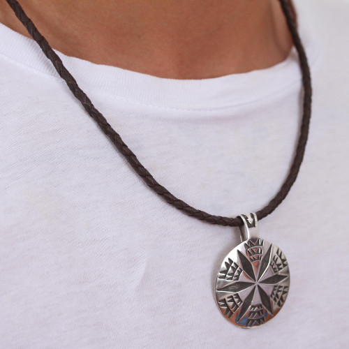Brown Leather Artisan Crafted Taxco Silver Pendant Necklace 'Crop Circle'