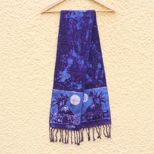 Artisan Crafted Signed Blue Batik Shawl from Ghana 'Blue Moonlight Village'