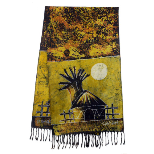 Signed Ghanaian Cotton Batik Shawl in Brown and Gold 'Golden Moonlight Village'