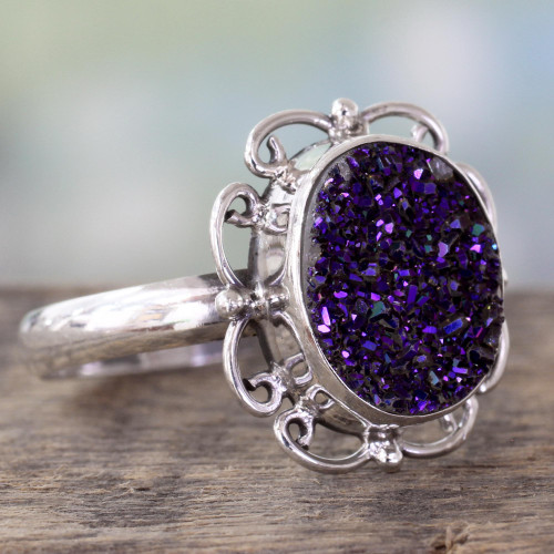 Handcrafted Silver Cocktail Ring with Sparkling Purple Drusy 'Purple Dazzle'