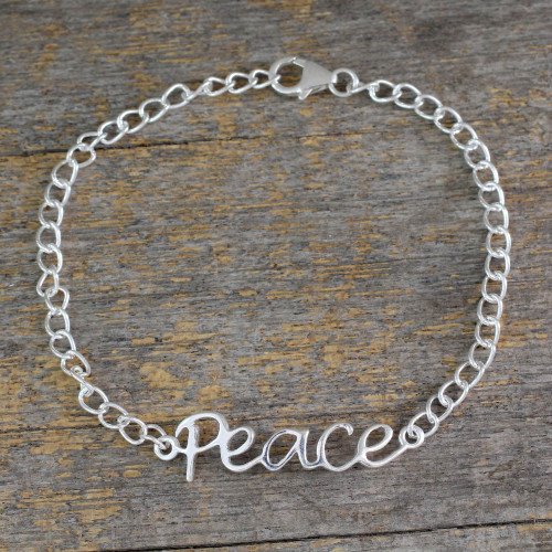 Artisan Crafted Sterling Silver Bracelet with Peace Theme 'Remembrance of Peace'