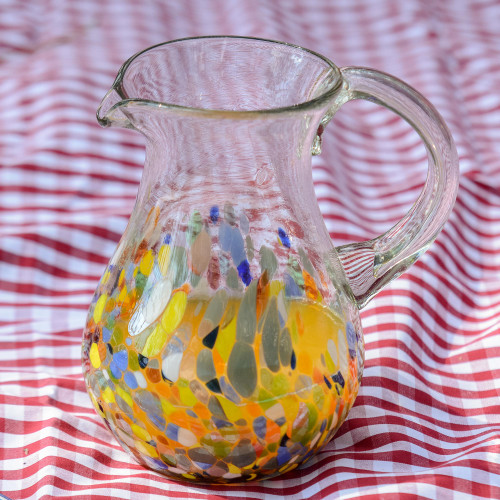 Artisan Crafted Colorful Mexican Hand Blown Pitcher 87 oz 'Confetti Festival'