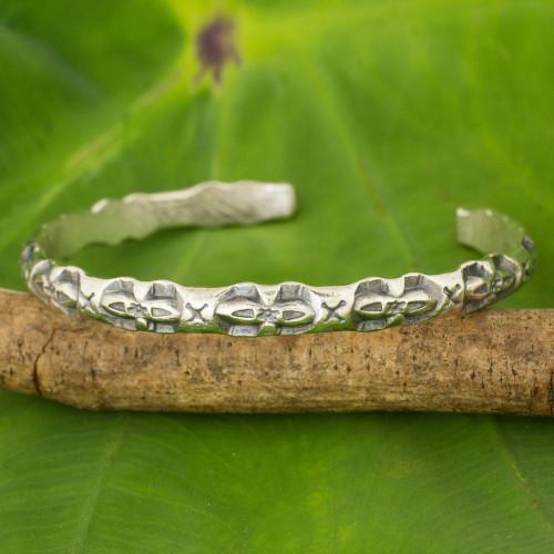 Artisan Crafted Silver Cuff Bracelet with Geometric Motif 'Karen Classic'