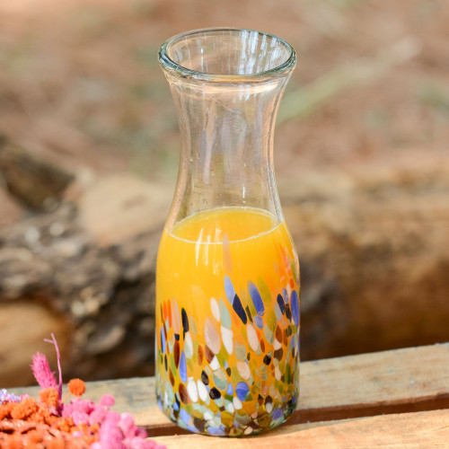 Artisan Crafted Colorful Mexican Hand Blown Carafe 28 oz 'Confetti Festival'