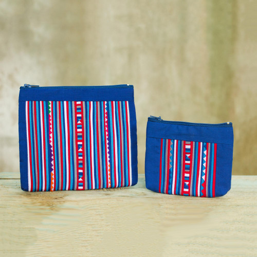 Lisu Tribe Style Cosmetic Bags in Red White and Blue Pair 'Lisu Cheer'