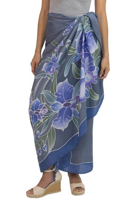 100 Thai Silk Sarong Wrap with Hand-printed Batik Orchids 'Midnight Cattleya'