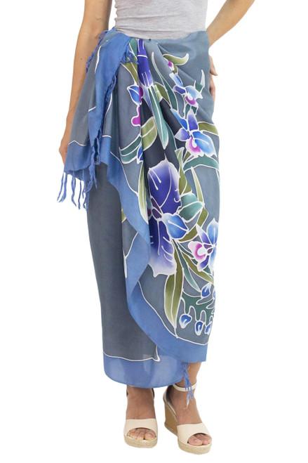 100 Silk Sarong with Hand-printed Batik Thai Blue Orchids 'Twilight Cattleya'