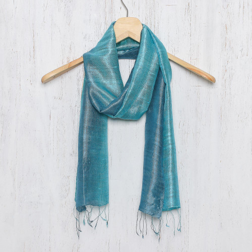Artisan Crafted 100 Silk Teal Wrap Scarf from Thailand 'Peacock Blue'