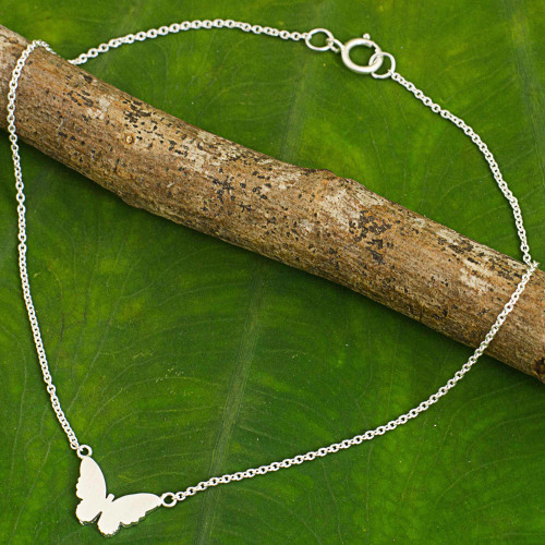 Thai Artisan Crafted Sterling Silver Butterfly Theme Anklet 'Butterfly Silhouette'