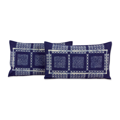 Set of 2 Elongated Hill Tribe Cotton Batik Cushion Covers 'Blue Hmong Windows'