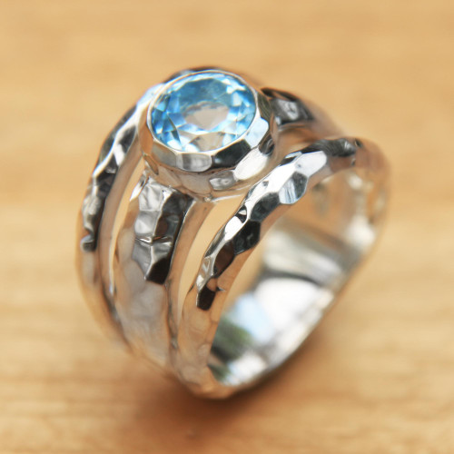 Blue Topaz Handcrafted Sterling Silver Ring from Bali 'Sparkling Pool'