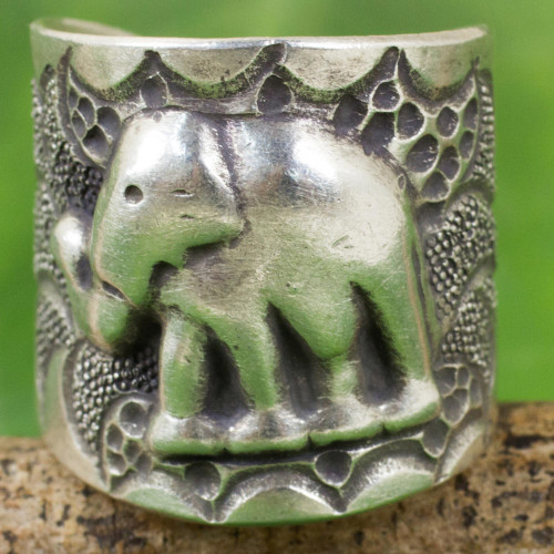 Hand Crafted Silver Wrap Ring with Elephant Motif 'Thai Jungle'