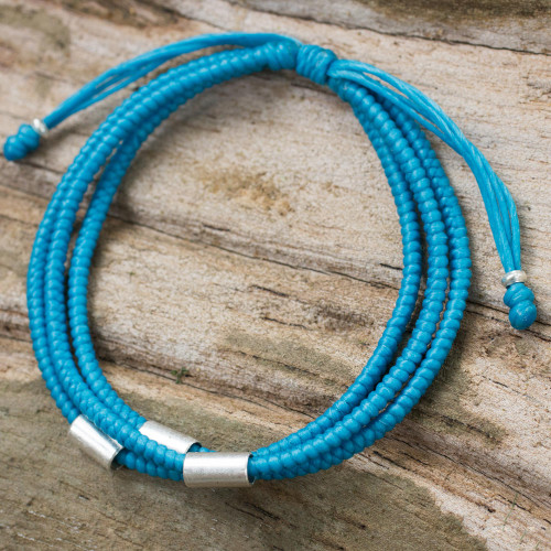 Artisan Crafted Blue Braided Bracelet with Silver Accents 'Best Friend in Blue'