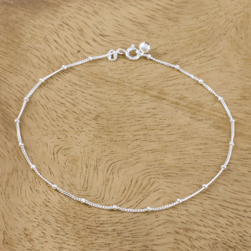 Sterling Silver Station Anklet from Thailand 'Relaxing Walk'