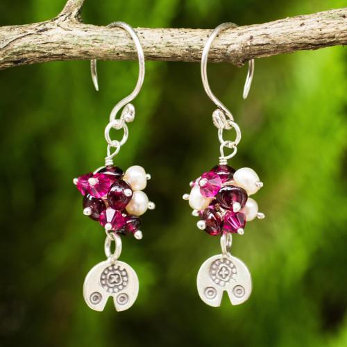 Karen Hill Tribe Floral Silver Pearls and Garnet Earrings 'Karen Roses'