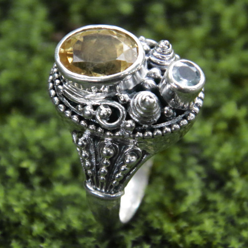 Ornate Sterling Silver Balinese Blue Topaz and Citrine Ring 'Bright Afternoon'