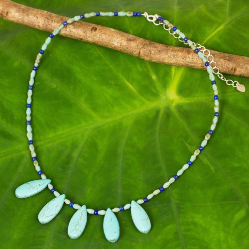 Thai Ethnic Style Beaded Necklace with Lapis Lazuli 'Blue Morning'