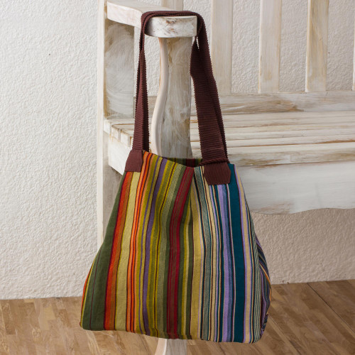 100 Cotton Hand Crafted Colorful Striped Tote Handbag 'Earth and Sky'