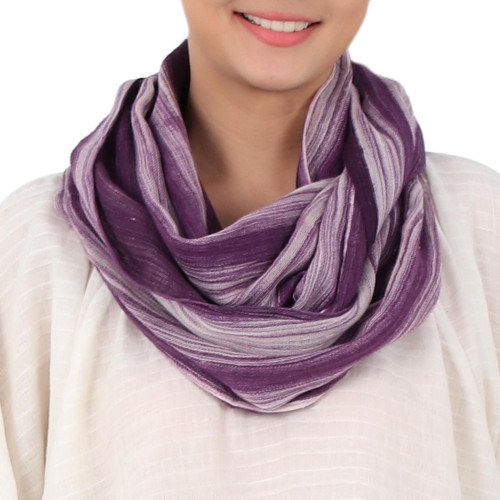 Hand Woven 100 Cotton Infinity Scarf in Purple and White 'Purple Skies'