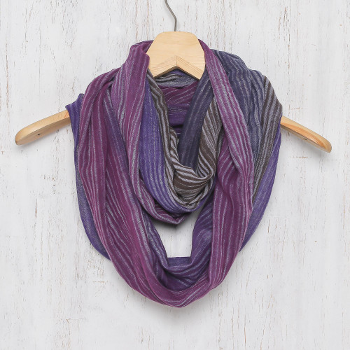 Colorful 100 Cotton Hand Woven Infinity Scarf from Thailand 'Radiant Horizon'