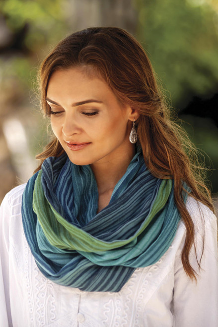 Artisan Crafted 100 Cotton Infinity Scarf from Thailand 'Seaside Breezes'