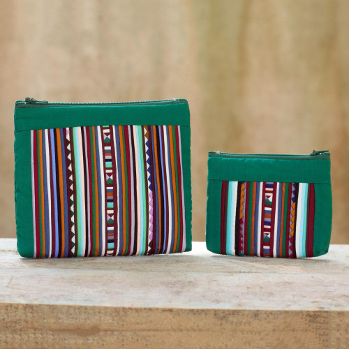Thai Hill Tribe Applique on 2 Cotton Blend Cosmetic Bags 'Exotic Lisu in Green'