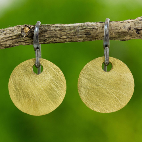 Artisan Crafted Gold Plated Dangle Earrings from Thailand 'Golden Morning'