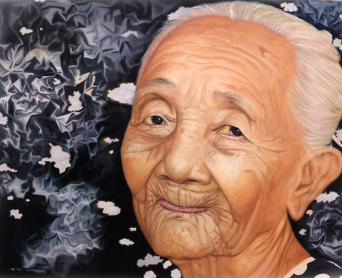 Portrait of Balinese Smiling Grandmother Realist Painting 'Grandmother'