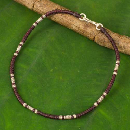 Artisan Crafted Maroon Anklet with Karen Hill Tribe Silver 'Wandering Maroon'
