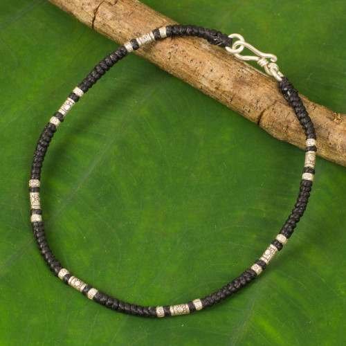 Artisan Crafted Black Anklet with Karen Hill Tribe Silver 'Wandering Black'