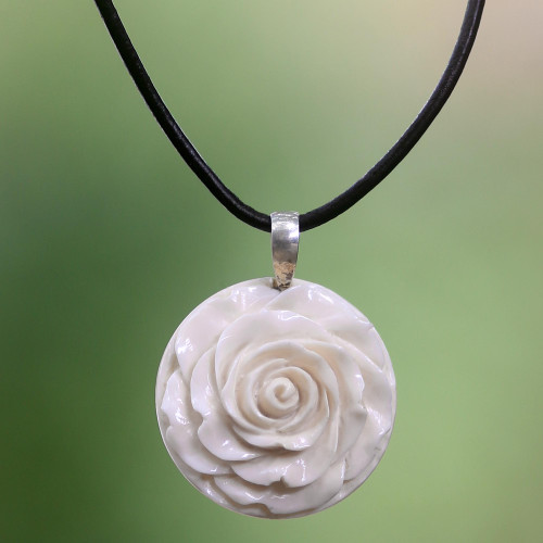 Artisan Crafted White Rose Pendant on Leather Cord Necklace 'Glorious Rose'
