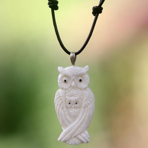 Artisan Crafted Owl Family Pendant on Leather Cord Necklace 'White Owl Family'