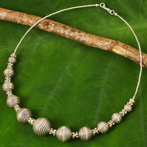 950 Silver Necklace Karen Hill Tribe Style Thai Jewelry 'Karen World'